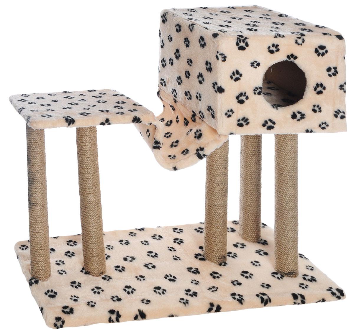 Игровой комплекс для кошек Меридиан, с домиком и гамаком, цвет: бежевый, черный, 90 х 40 х 80 смД126 Ла_бежевый, черные лапкиИгровой комплекс для кошек Меридиан выполнен из высококачественного ДВП и ДСП и обтянут искусственным мехом. Изделие предназначено для кошек. Ваш домашний питомец будет с удовольствием точить когти о специальные столбики, изготовленные из джута. А отдохнуть он сможет в домике, на полках или в удобном гамаке. Общий размер: 90 х 40 х 80 см. Размер основания: 90 х 40 см. Высота полки: 53 см. Размер домика: 40 х 40 х 28 см. Размер полки: 39 х 39 см.