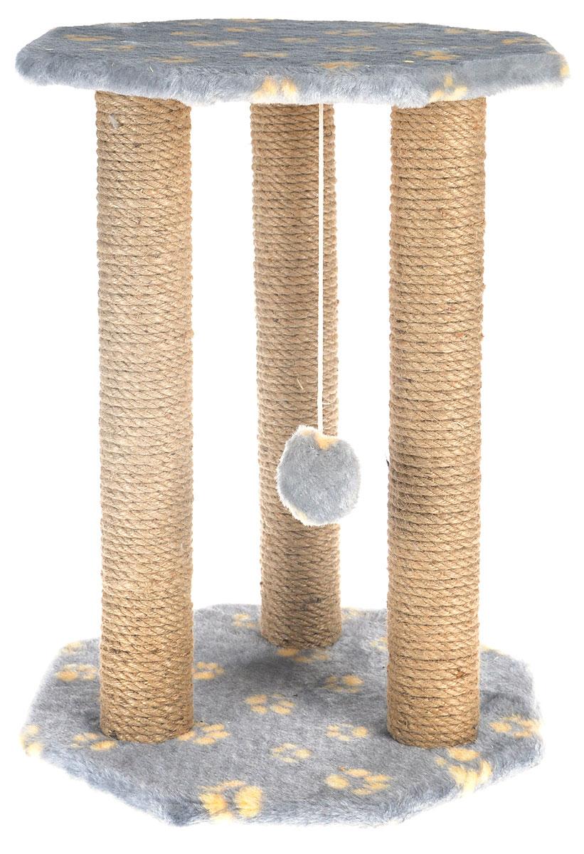 Когтеточка Меридиан Ротонда, с игрушкой, цвет: серый, желтый, бежевый, 35 х 35 х 50 смК501 Ла_серый, желтые лапкиКогтеточка Меридиан Ротонда поможет сохранить мебель и ковры в доме от когтей вашего любимца, стремящегося удовлетворить свою естественную потребность точить когти. Когтеточка изготовлена из ДСП, искусственного меха и джута. Товар продуман в мельчайших деталях и, несомненно, понравится вашей кошке. Подвесная игрушка привлечет внимание питомца. Сверху имеется полка, на которой кошка сможет отдохнуть. Всем кошкам необходимо стачивать когти. Когтеточка - один из самых необходимых аксессуаров для кошки. Для приучения к когтеточке можно натереть ее сухой валерьянкой или кошачьей мятой. Когтеточка поможет вашему любимцу стачивать когти и при этом не портить вашу мебель.