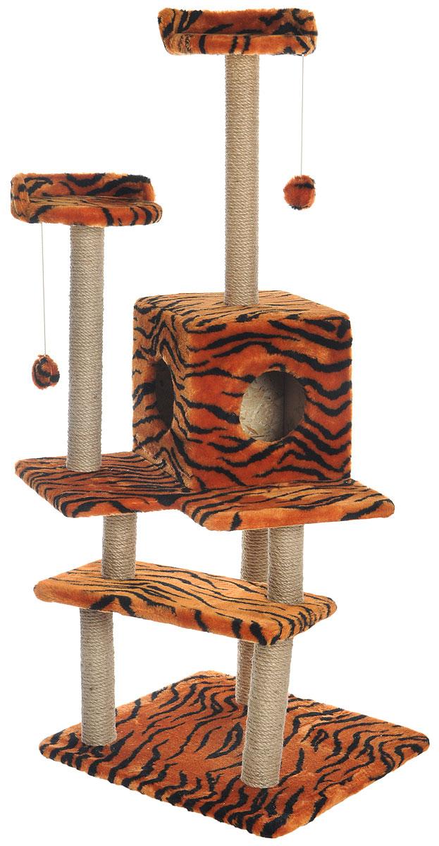 Игровой комплекс для кошек Меридиан Лестница, цвет: оранжевый, черный, бежевый, 56 х 50 х 142 смД151ТИгровой комплекс для кошек Меридиан Лестница выполнен из высококачественного ДВП и ДСП и обтянут искусственным мехом. Изделие предназначено для кошек. Ваш домашний питомец будет с удовольствием точить когти о специальные столбики, изготовленные из джута. А отдохнуть он сможет либо на полках, либо в домике. Общий размер: 56 х 50 х 142 см. Размер верхних полок: 27 х 27 см. Размер домика: 31 х 31 х 32 см.