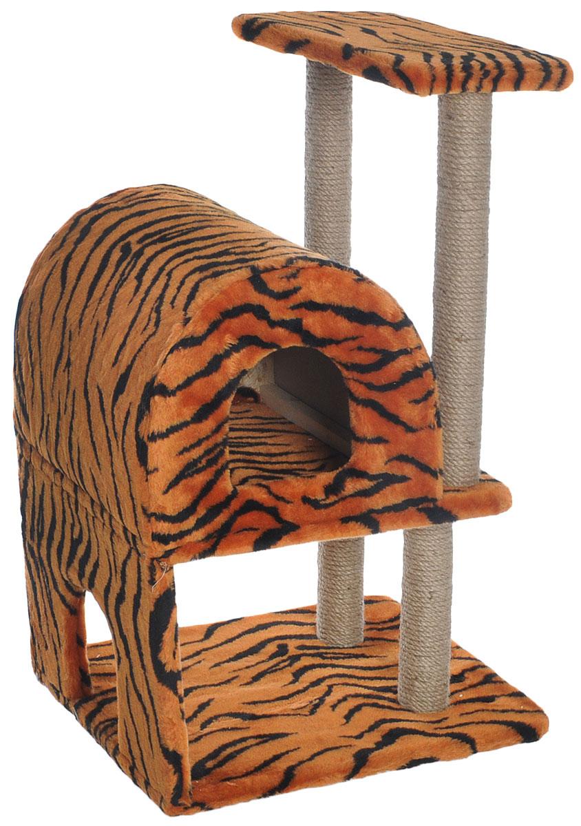 Домик-когтеточка Меридиан, полукруглый, двухэтажный, с полкой, цвет: оранжевый, черный, бежевый, 55 х 40 х 85 смД521ТДомик-когтеточка Меридиан выполнен из высококачественного ДВП и ДСП и обтянут искусственным мехом. Изделие предназначено для кошек. Ваш домашний питомец будет с удовольствием точить когти о специальные столбики, изготовленные из джута. А отдохнуть он сможет либо на полке, либо в домике. Домик-когтеточка Меридиан принесет пользу не только вашему питомцу, но и вам, так как он сохранит мебель от когтей и шерсти. Общий размер: 55 х 40 х 85 см. Размер нижнего домика: 40 х 40 х 33 см. Размер полки: 40 х 25 см.
