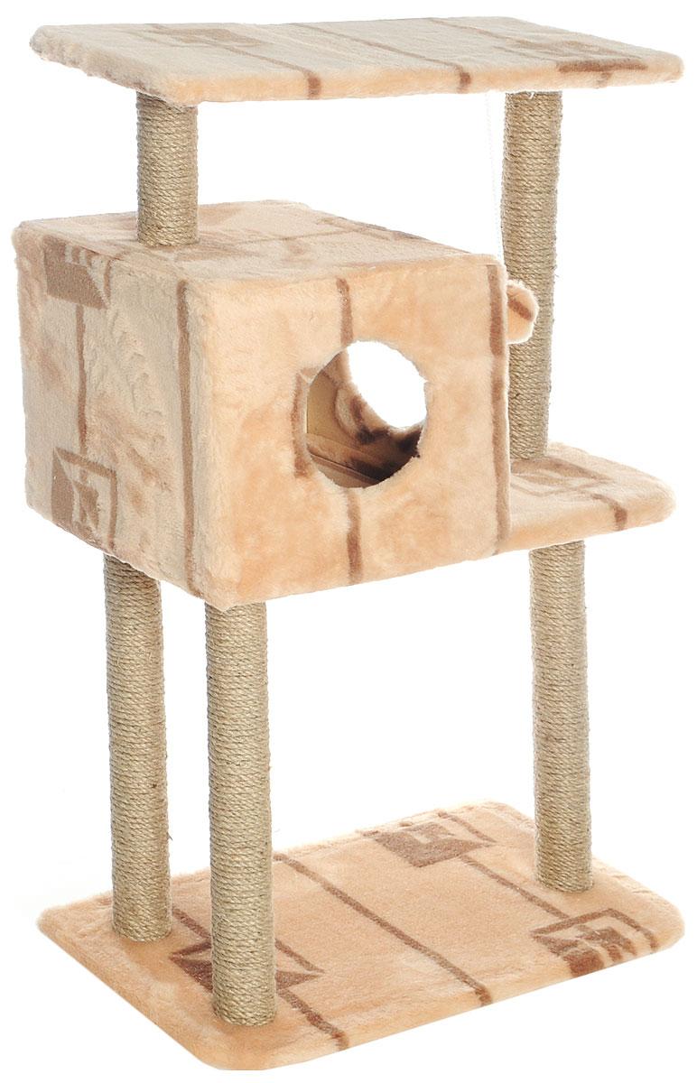 """Домик-когтеточка """"Меридиан"""", квадратный, трехэтажный, с полкой, цвет: бежевый, коричневый, 65 х 36 х 105 см Д134 Г"""