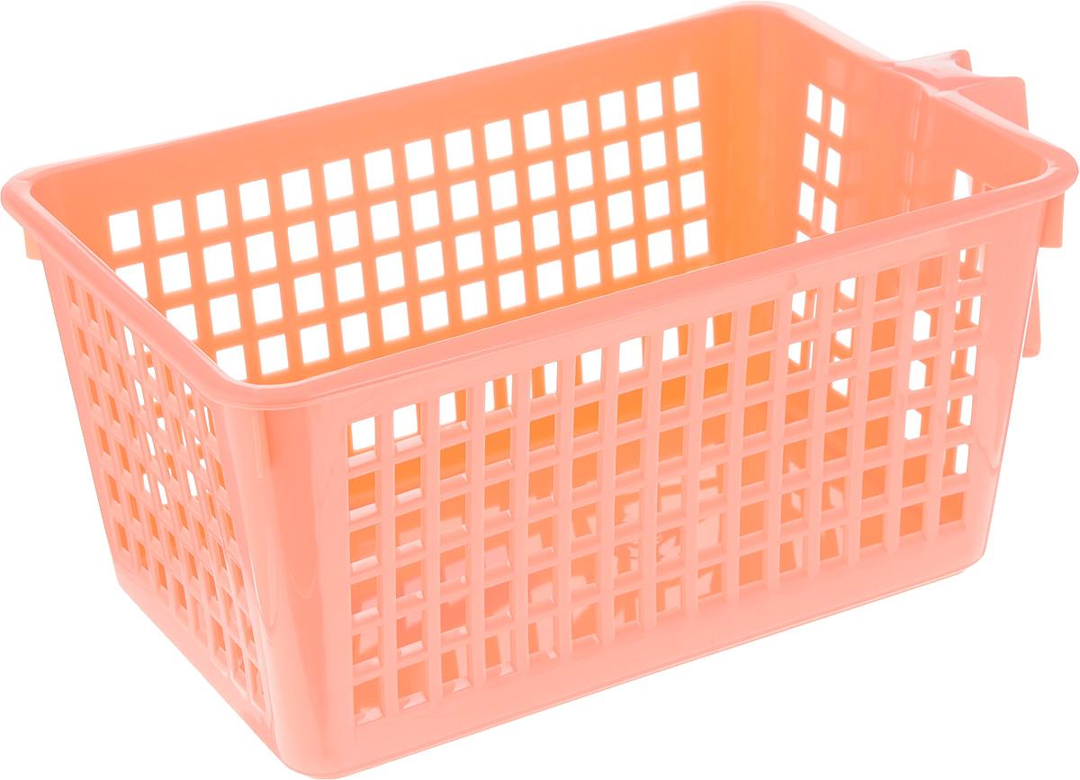 Корзинка универсальная Econova, с ручкой, цвет: коралловый, 28 х 16 х 12 см847545_коралловыйУниверсальная корзинка Econova изготовлена из высококачественного пластика и предназначена для хранения и транспортировки вещей. Корзинка подойдет как для пищевых продуктов, так и для ванных принадлежностей и различных мелочей. Изделие оснащено ручкой для более удобной транспортировки. Стенки корзинки оформлены перфорацией, что обеспечивает естественную вентиляцию. Универсальная корзинка Econova позволит вам хранить вещи компактно и с удобством.
