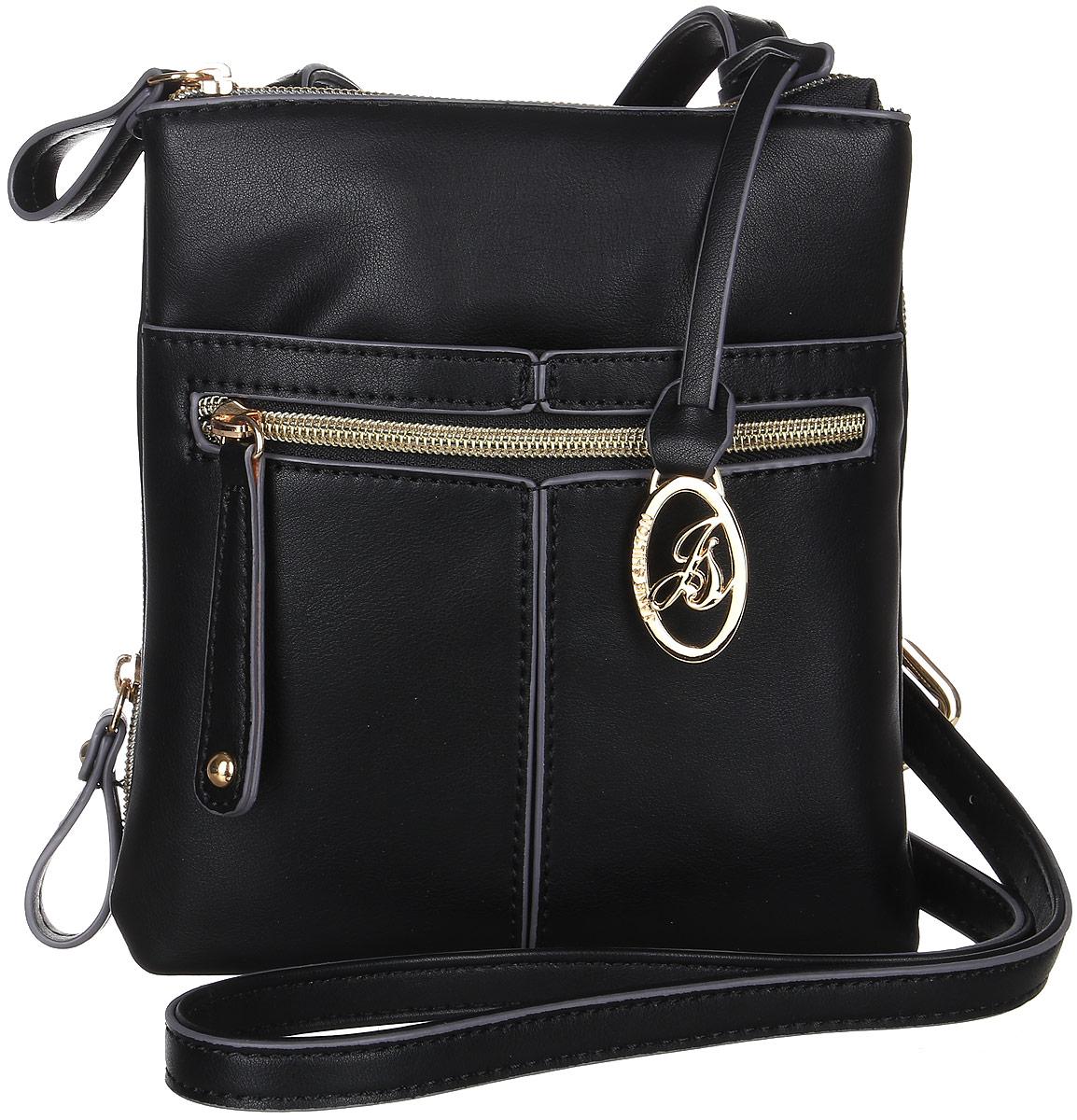 Сумка женская Jane Shilton, цвет: черный. 23012301blПрекрасная сумочка Jane Shilton выполнена из искусственной кожи. Модель на длинном регулируемом ремне. Застежка на молнию. Спереди накладной карман и прорезной карман на молнии. Сзади очень удобный карман-органайзер, внутри которого разделитель на молнии, отделения для карточек и прорезной карман на молнии.