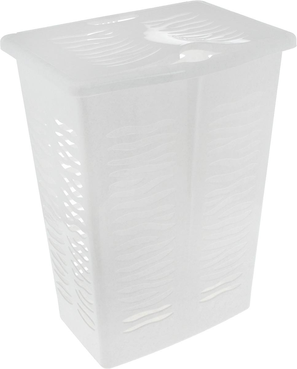 Корзина для белья BranQ Aqua, цвет: мраморный, 42 лBQ1707МРКорзина для белья BranQ Aqua изготовлена из прочного полипропилена и оформлена перфорированными отверстиями, благодаря которым обеспечивается естественная вентиляция. Корзина оснащена крышкой и ручкой для переноски. На крышке имеется выемка для удобного открывания крышки. Такая корзина для белья прекрасно впишется в интерьер ванной комнаты.. Размер корзины: 30 х 39,5 х 53 см, Объем: 42 л.