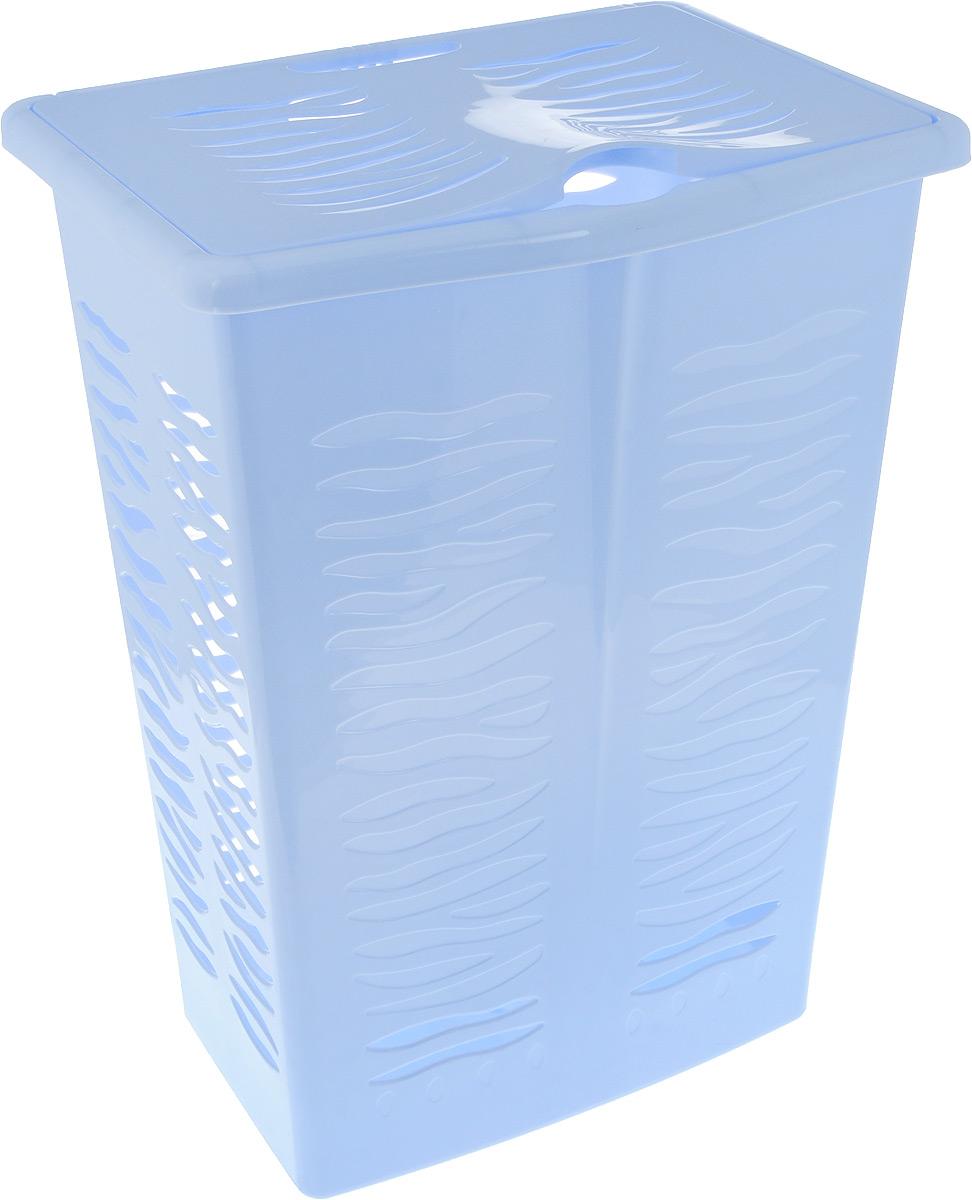 Корзина для белья BranQ Aqua, цвет: голубой, 42 лBQ1707ГЛПНаша корзина подойдет даже для небольших ванных комнат, а широкая устойчивая крышка позволит не просто скрыть от глаз ненужные предметы, но и использовать ее, как дополнительную полезную поверхность. Благодаря широкому канту по верхним краям корзины, ее легко поднимать и держать в руках. Сделана из легкого и прочного материала, привлекательный дизайн в виде полосок зебры прекрасно впишется в любую обстановку ванной комнаты.