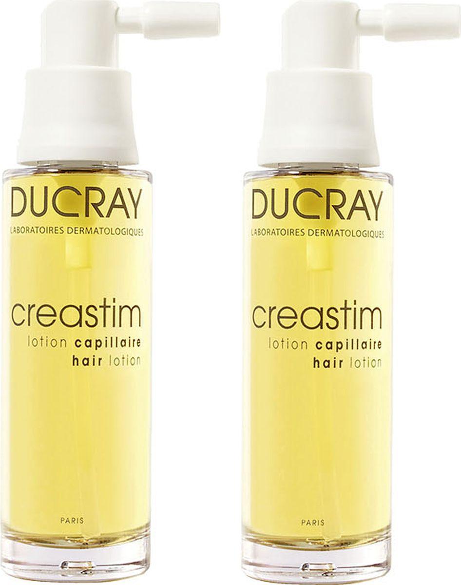 Ducray Лосьон Creastim против выпадения волос 2х30 млC42157Инновационный лосьон Creastim (Креастим) значительно уменьшает реакционное выпадение волос: после беременности, стресса, переутомления, и стимулирует рост новых. Основные компоненты: Синергия компонентов: ТЕТРАПЕПТИДА, КРЕАТИНА и ВИТАМИНОВ B5, B6, B8 обеспечивает восстановление структуры, плотности и жизненной силы волос за счет усиленного питания волосяных луковиц. Благодаря своей легкой текстуре лосьон оптимально наносится, не делая волосы жирными. Обладая составом, разработанным для максимальной переносимости, этот лосьон подходит для самой чувствительной кожи волосистой части головы. Подходит молодым мамам в период после рождения ребенка, в том числе во время грудного вскармливания.