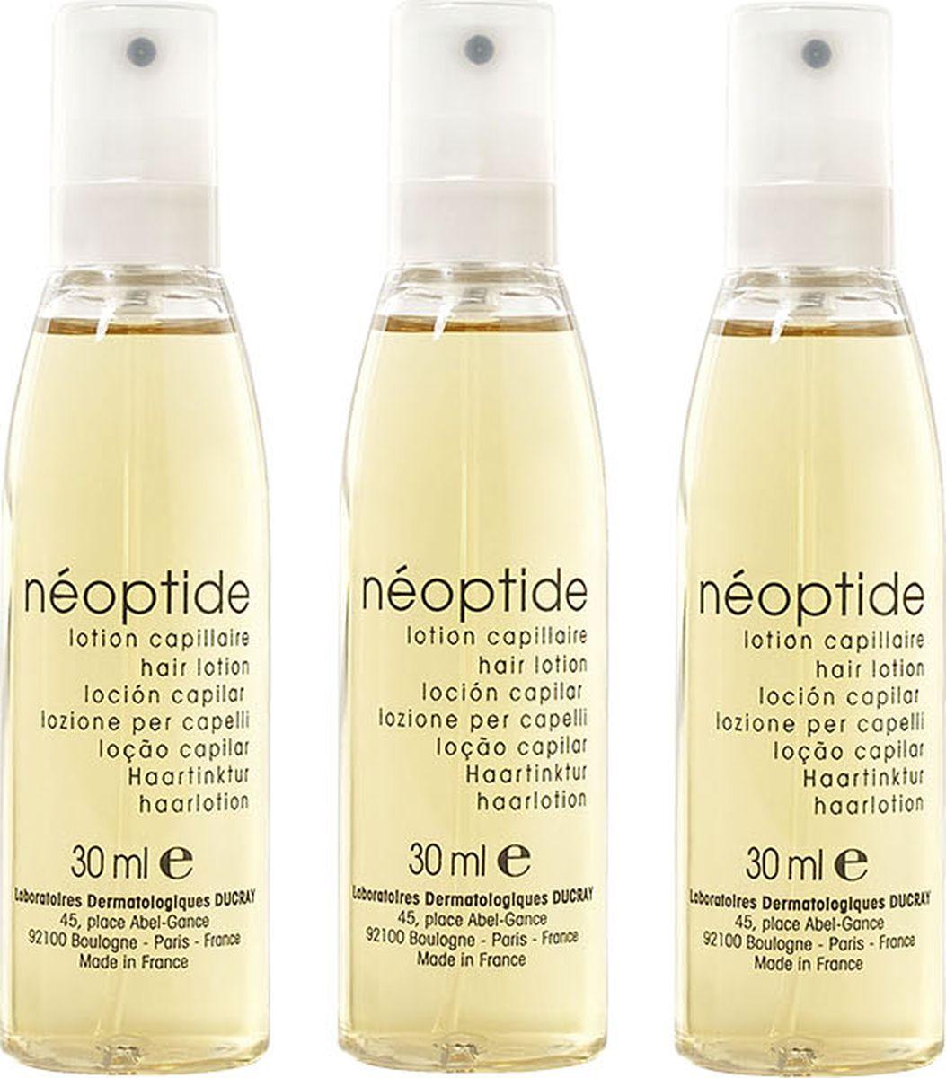 Ducray Лосьон Neoptide от выпадения волос 3 х 30 млC24208Стимулирующий лосьон Neoptide (Неоптид) целенаправленно воздействует на фазу роста волоса у женщин. ТЕТРАПЕПТИД, ЭКСТРАКТ РУСКУСА НИКОТИНАМИД и МОЛЕКУЛА GP4G эффективно останавливают выпадение волос и стимулируют рост новых за счёт улучшения обменных процессов в волосяной луковице. Легкая текстура отлично подходит для ежедневного использования, так как не склеивает и не утяжеляет волосы. Продукт не требует смывания.