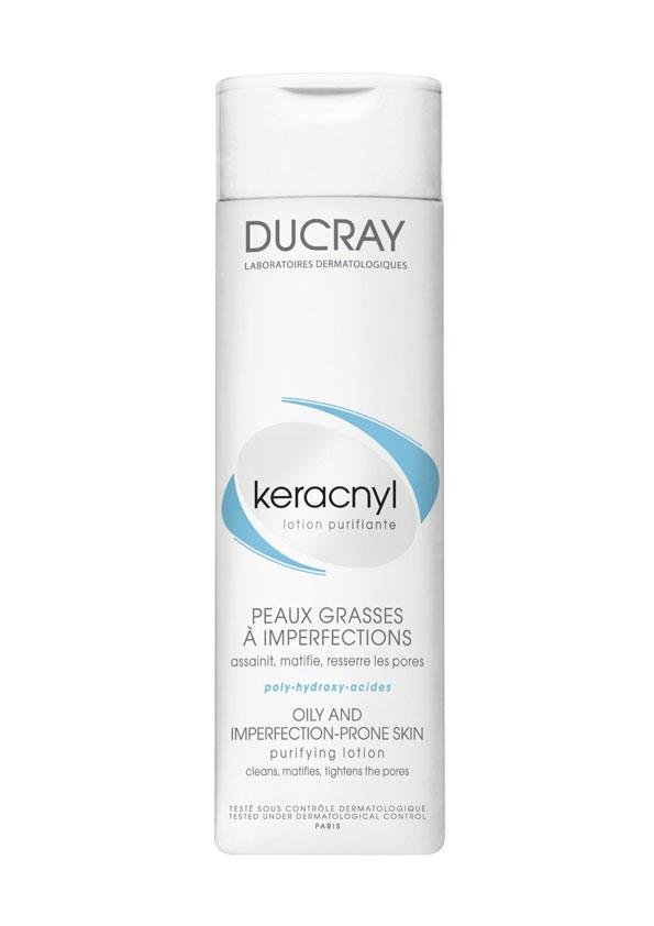 Ducray Очищающий лосьон Keracnyl 200 млC18624Сочетание очищающей основы и увлажняющих компонентов обеспечивает бережное очищение. Комбинация Воды гамамелиса и Альфа-бисаболола очищает и обеспечивает контроль блеска, матирует, сужает поры, успокаивает кожу.