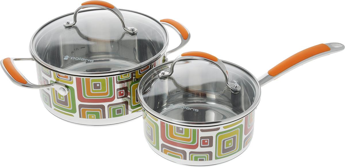 Набор посуды Polaris Fresh Line, 4 предметаFL-1620SPCНабор посуды Polaris Fresh Line состоит из кастрюли и ковша с крышками. Изделия изготовлены из высококачественной нержавеющей стали. Крышки изделий выполнены из жаропрочного стекла с отверстием для выхода пара, что позволяет готовить пищу без потери тепла, что сокращает сроки приготовления пищи, максимально сохраняет витамины, микроэлементы и питательные вещества. Удобные ручки, выполненные из стали и силикона, не нагреваются. Рисунок выполнен зеркальной полировкой с мозаичной деколью. Посуда линии Fresh Line - это функциональность, высокое качество, дизайнерские решения, инновации, удобство использования, ухода и хранения. Диаметр кастрюли (по верхнему краю): 21,5 см. Высота кастрюли: 10 см. Ширина кастрюли с учетом ручек: 29,3 см. Объем кастрюли: 2,9 л. Диаметр ковша (по верхнему краю): 17,5 см. Высота ковша: 8 см. Объем ковша: 1,5 л. Длина ручки ковша: 16 см.