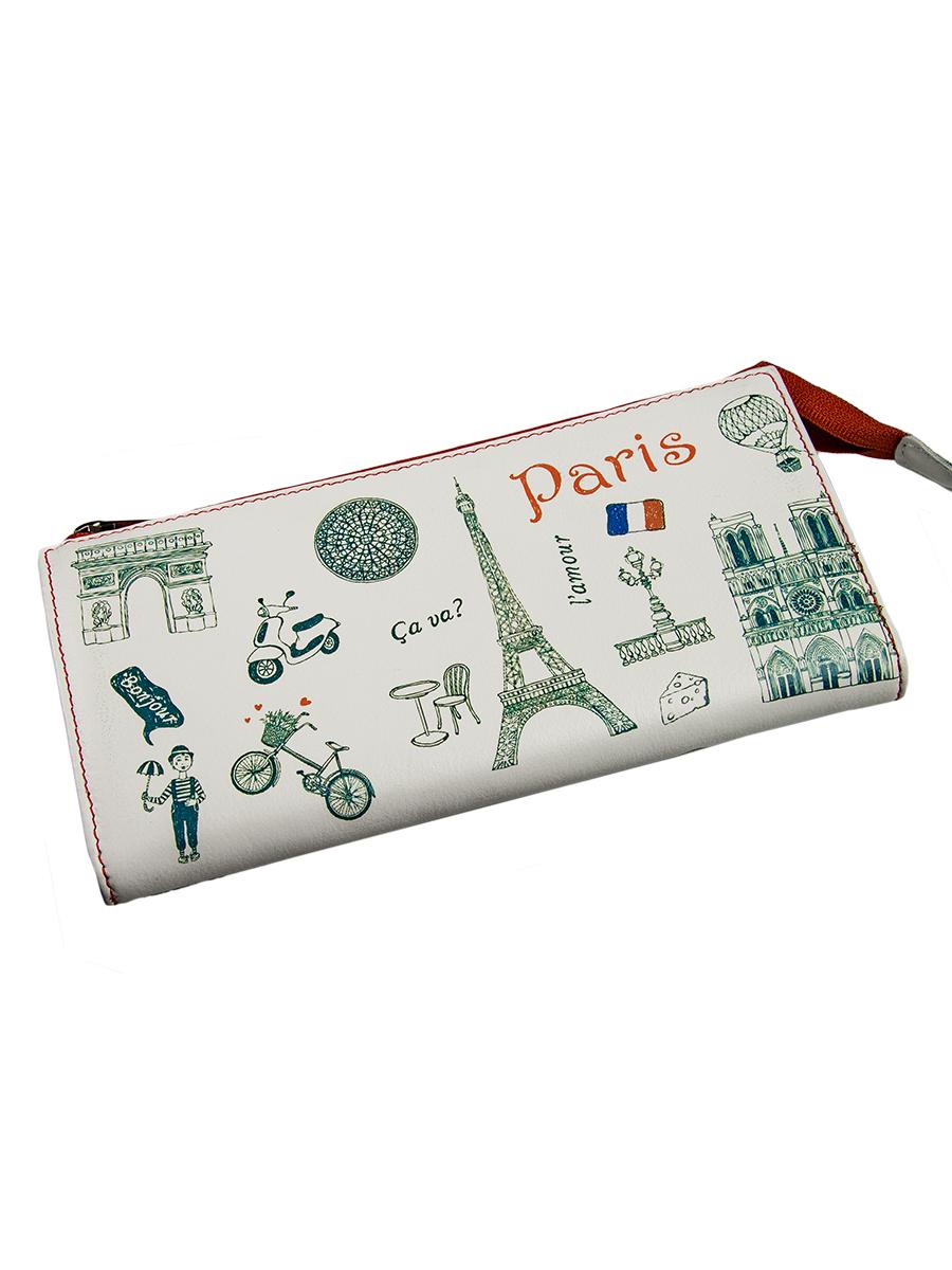 Портмоне женское Befler Paris, цвет: белый, зеленый. PJ.157.-7PJ.157.-7Портмоне Befler из коллекции Paris выполнено из натуральной кожи и оформлено оригинальным принтом. Закрывается на молнию. Внутри расположено 2 отделения для купюр, отделение для мелочи на молнии, 2 накладных кармана с отделениями для кредитных карт.