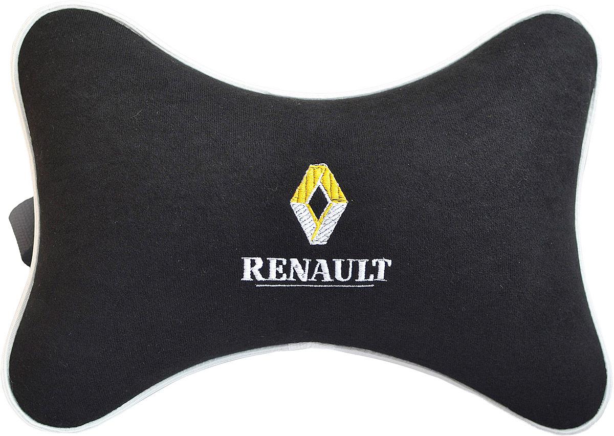Подушка на подголовник Auto Premium Renault, цвет: черный. 3743037430Подушка на подголовник - это прежде всего лучший способ создать комфорт для шеи и головы во время пребывания в автомобильном кресле. Большинство штатных подголовников устроены так, что до них попросту не дотянуться. Данный аксессуар полностью решает эту проблему, создавая мягкую ортопедическою поддержку. Подушка крепится к сиденью, а это значит один раз поставил - и забыл. Меньше утомляемость - а следовательно выше внимание и концентрация на дороге. Одинакова удобна для пассажира и водителя. Подушка выполнена из велюра.
