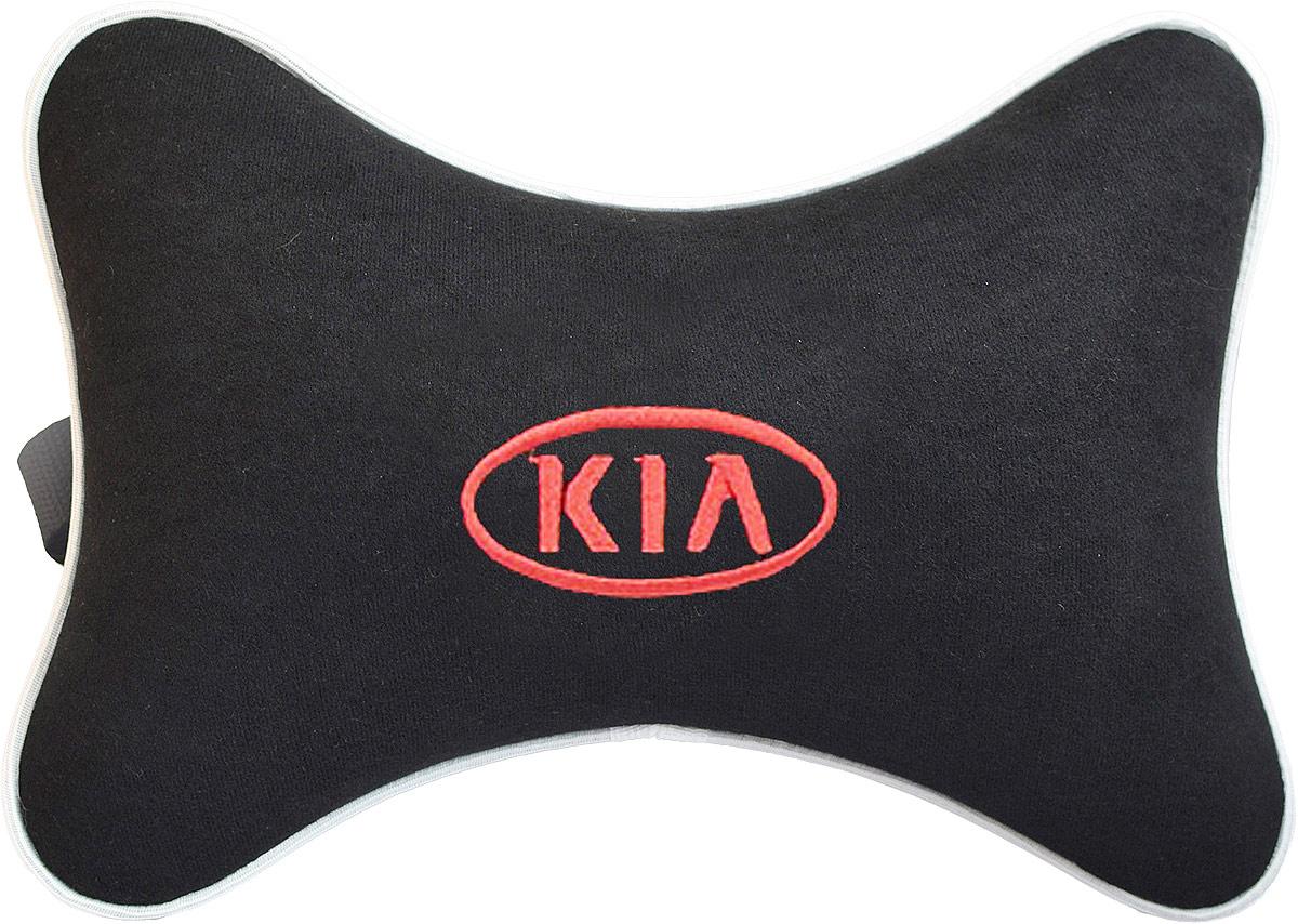 Подушка на подголовник Auto Premium Kia, цвет: черный. 3743137431Подушка на подголовник - это прежде всего лучший способ создать комфорт для шеи и головы во время пребывания в автомобильном кресле. Большинство штатных подголовников устроены так, что до них попросту не дотянуться. Данный аксессуар полностью решает эту проблему, создавая мягкую ортопедическою поддержку. Подушка крепится к сиденью, а это значит один раз поставил - и забыл. Меньше утомляемость - а следовательно выше внимание и концентрация на дороге. Одинакова удобна для пассажира и водителя. Подушка выполнена из велюра.