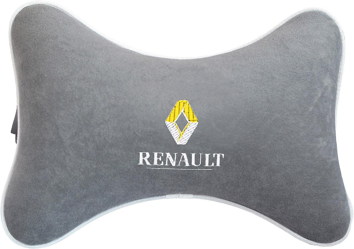 Подушка на подголовник Auto Premium Renault, цвет: серый. 3745037450Подушка на подголовник - это прежде всего лучший способ создать комфорт для шеи и головы во время пребывания в автомобильном кресле. Большинство штатных подголовников устроены так, что до них попросту не дотянуться. Данный аксессуар полностью решает эту проблему, создавая мягкую ортопедическою поддержку. Подушка крепится к сиденью, а это значит один раз поставил - и забыл. Меньше утомляемость - а следовательно выше внимание и концентрация на дороге. Одинакова удобна для пассажира и водителя. Подушка выполнена из велюра.