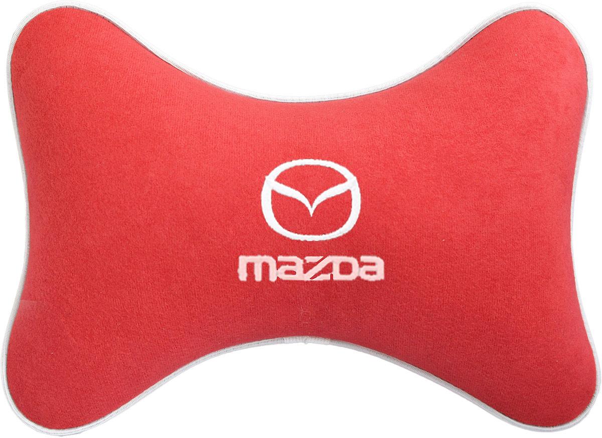 Подушка на подголовник Auto Premium Mazda, цвет: красный. 3746237462Подушка на подголовник - это прежде всего лучший способ создать комфорт для шеи и головы во время пребывания в автомобильном кресле. Большинство штатных подголовников устроены так, что до них попросту не дотянуться. Данный аксессуар полностью решает эту проблему, создавая мягкую ортопедическою поддержку. Подушка крепится к сиденью, а это значит один раз поставил - и забыл. Меньше утомляемость - а следовательно выше внимание и концентрация на дороге. Одинакова удобна для пассажира и водителя. Подушка выполнена из велюра.