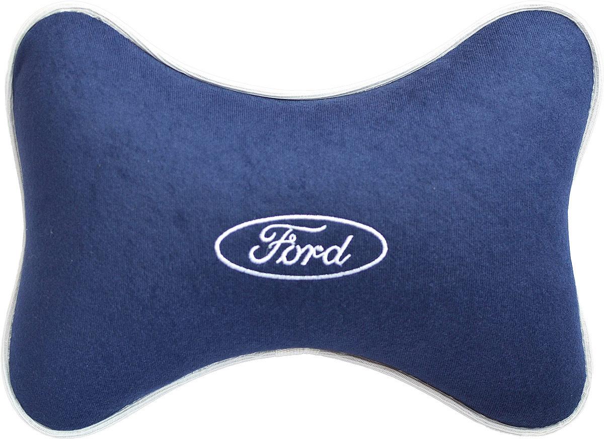 Подушка на подголовник Auto Premium Ford , цвет: синий. 3748437484Подушка на подголовник - это прежде всего лучший способ создать комфорт для шеи и головы во время пребывания в автомобильном кресле. Большинство штатных подголовников устроены так, что до них попросту не дотянуться. Данный аксессуар полностью решает эту проблему, создавая мягкую ортопедическою поддержку. Подушка крепится к сиденью, а это значит один раз поставил - и забыл. Меньше утомляемость - а следовательно выше внимание и концентрация на дороге. Одинакова удобна для пассажира и водителя. Подушка выполнена из велюра.