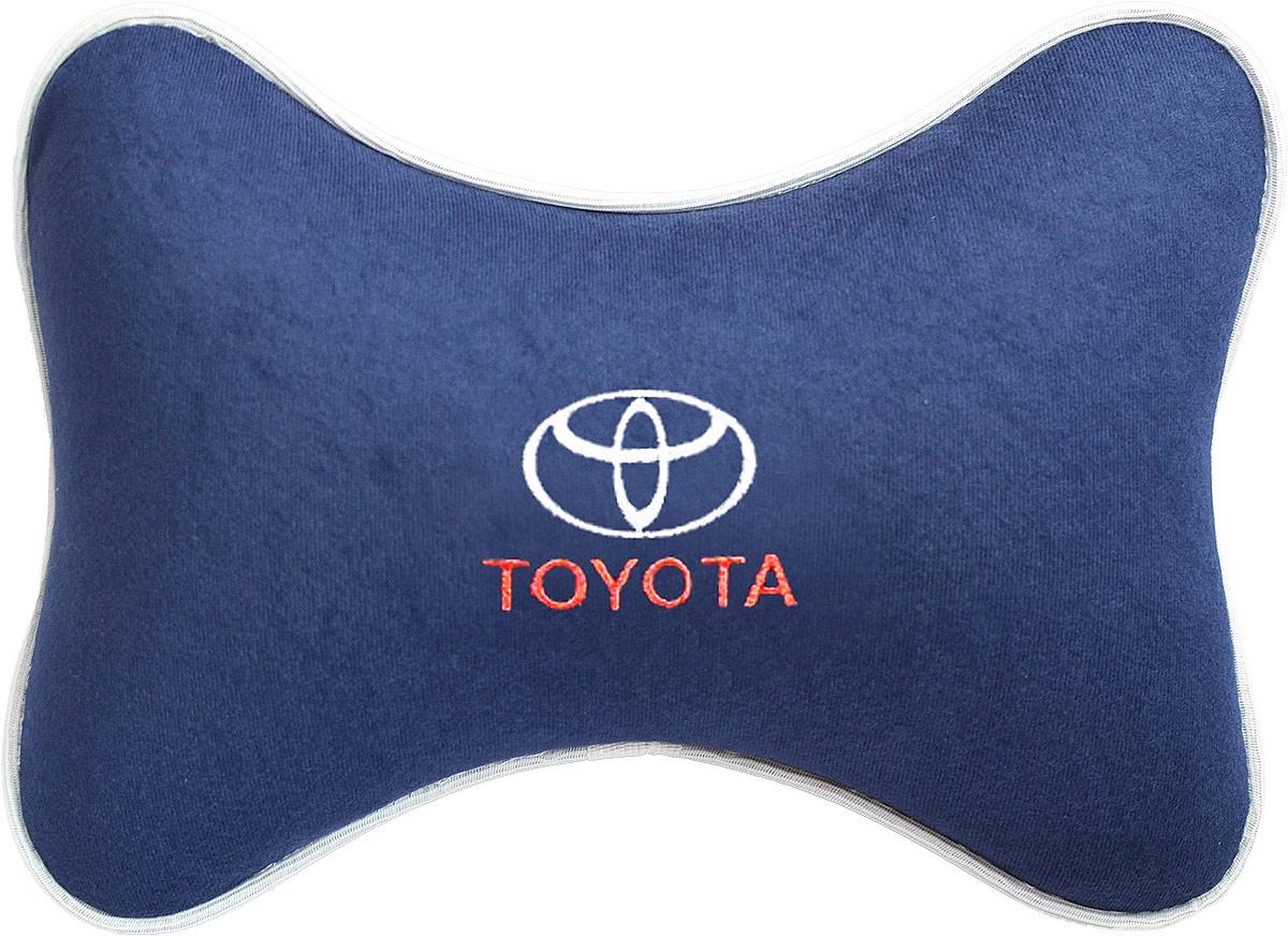 """Подушка на подголовник Auto Premium """"Toyota"""", цвет: синий. 37489"""