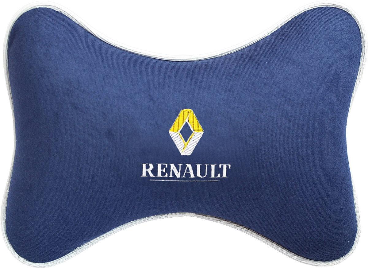 Подушка на подголовник Auto Premium Renault, цвет: синий. 3749037490Подушка на подголовник - это прежде всего лучший способ создать комфорт для шеи и головы во время пребывания в автомобильном кресле. Большинство штатных подголовников устроены так, что до них попросту не дотянуться. Данный аксессуар полностью решает эту проблему, создавая мягкую ортопедическою поддержку. Подушка крепится к сиденью, а это значит один раз поставил - и забыл. Меньше утомляемость - а следовательно выше внимание и концентрация на дороге. Одинакова удобна для пассажира и водителя. Подушка выполнена из велюра.