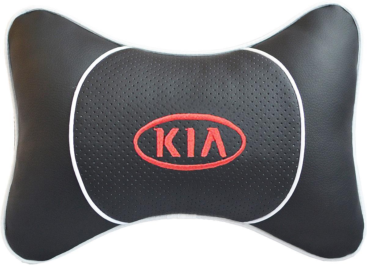 Подушка на подголовник Auto Premium Kia, цвет: черный. 3753137531Подушка на подголовник Люкс выполнена из черной гладкой экокожи, вставка из черной перфорированной экокожи имеет обрамление мягким кантом. Для нанесения вышивки используются высококачественные итальянские нитки. Подушка на подголовник - это прежде всего лучший способ создать комфорт для шеи и головы во время пребывания в автомобильном кресле. Такая подушка будет удобна как водителю, так и пассажиру. При производстве используются высококачественные, износостойкие материалы и гипоаллергенные наполнители.
