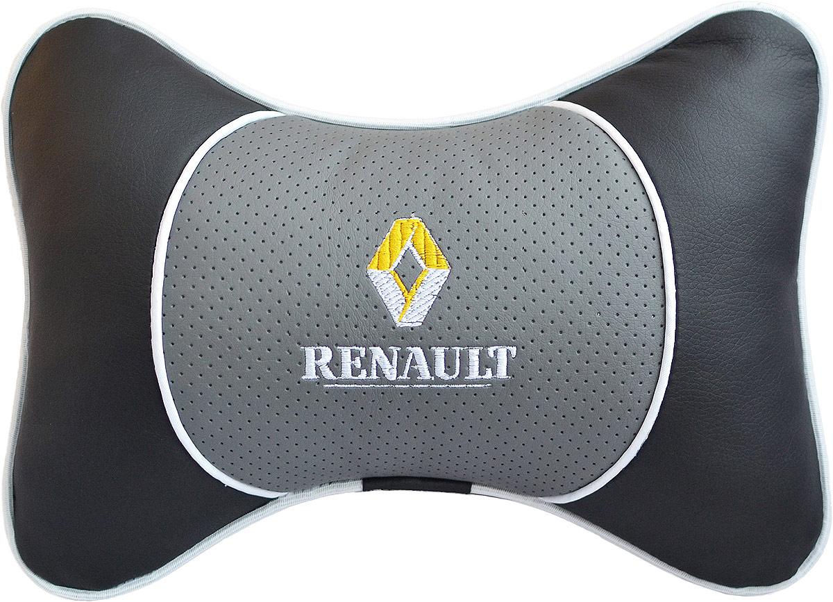 Подушка на подголовник Auto Premium Renault, цвет: серый. 3755037550Подушка на подголовник Люкс выполнена из черной гладкой экокожи, вставка из серой перфорированной экокожи имеет обрамление мягким кантом. Для нанесения вышивки используются высококачественные итальянские нитки. Подушка на подголовник - это прежде всего лучший способ создать комфорт для шеи и головы во время пребывания в автомобильном кресле. Такая подушка будет удобна как водителю, так и пассажиру. При производстве используются высококачественные, износостойкие материалы и гипоаллергенные наполнители.