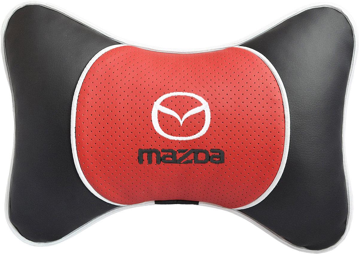 Подушка на подголовник Auto Premium Mazda, цвет: красный. 3756237562Подушка на подголовник Люкс выполнена из черной гладкой экокожи, вставка из красной перфорированной экокожи имеет обрамление мягким кантом. Для нанесения вышивки используются высококачественные итальянские нитки. Подушка на подголовник - это прежде всего лучший способ создать комфорт для шеи и головы во время пребывания в автомобильном кресле. Такая подушка будет удобна как водителю, так и пассажиру. При производстве используются высококачественные, износостойкие материалы и гипоаллергенные наполнители.