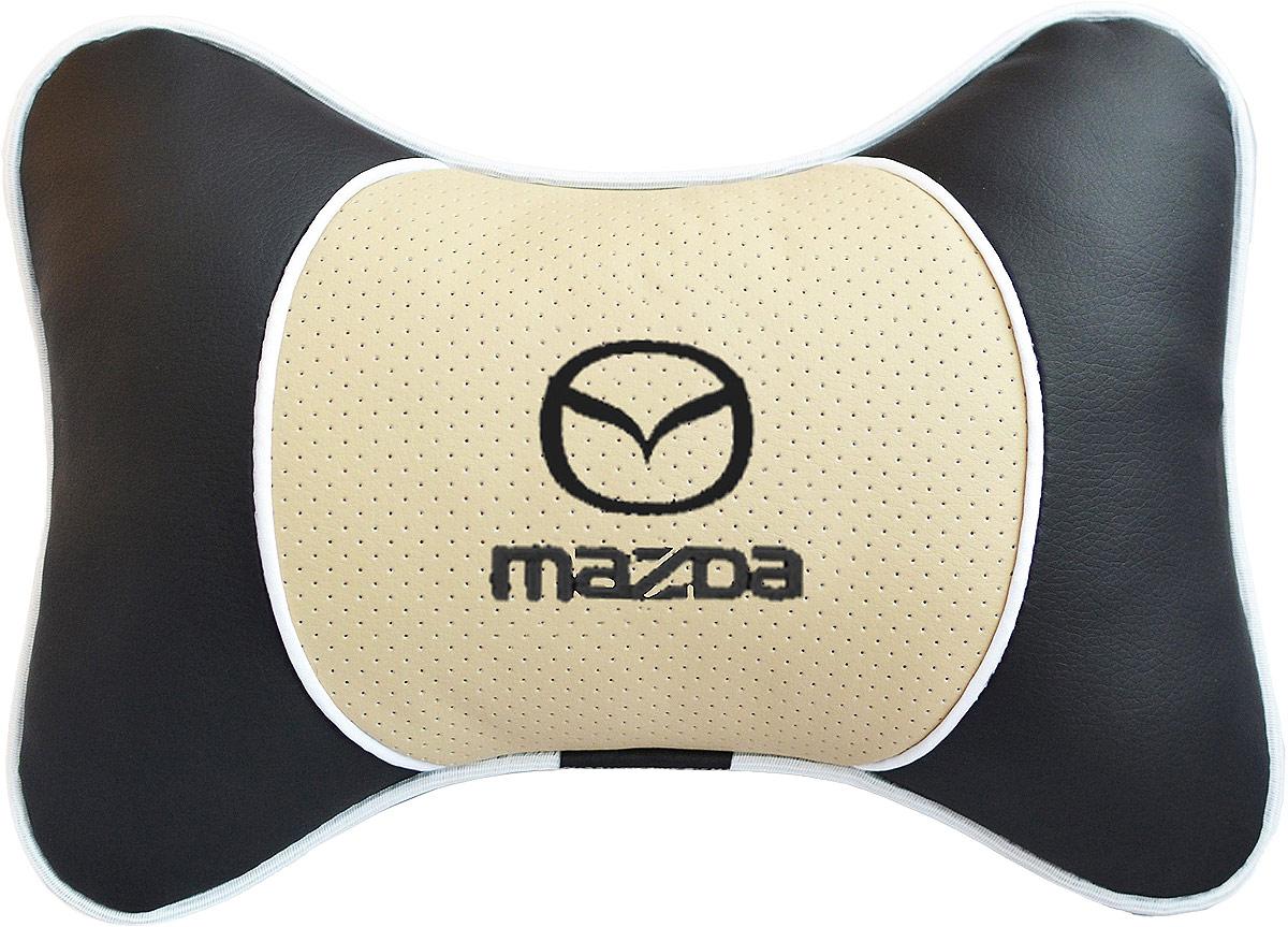 Подушка на подголовник Auto Premium Mazda, цвет: бежевый. 3758237582Подушка на подголовник Люкс выполнена из черной гладкой экокожи, вставка из бежевой перфорированной экокожи имеет обрамление мягким кантом. Для нанесения вышивки используются высококачественные итальянские нитки. Подушка на подголовник - это прежде всего лучший способ создать комфорт для шеи и головы во время пребывания в автомобильном кресле. Такая подушка будет удобна как водителю, так и пассажиру. При производстве используются высококачественные, износостойкие материалы и гипоаллергенные наполнители.