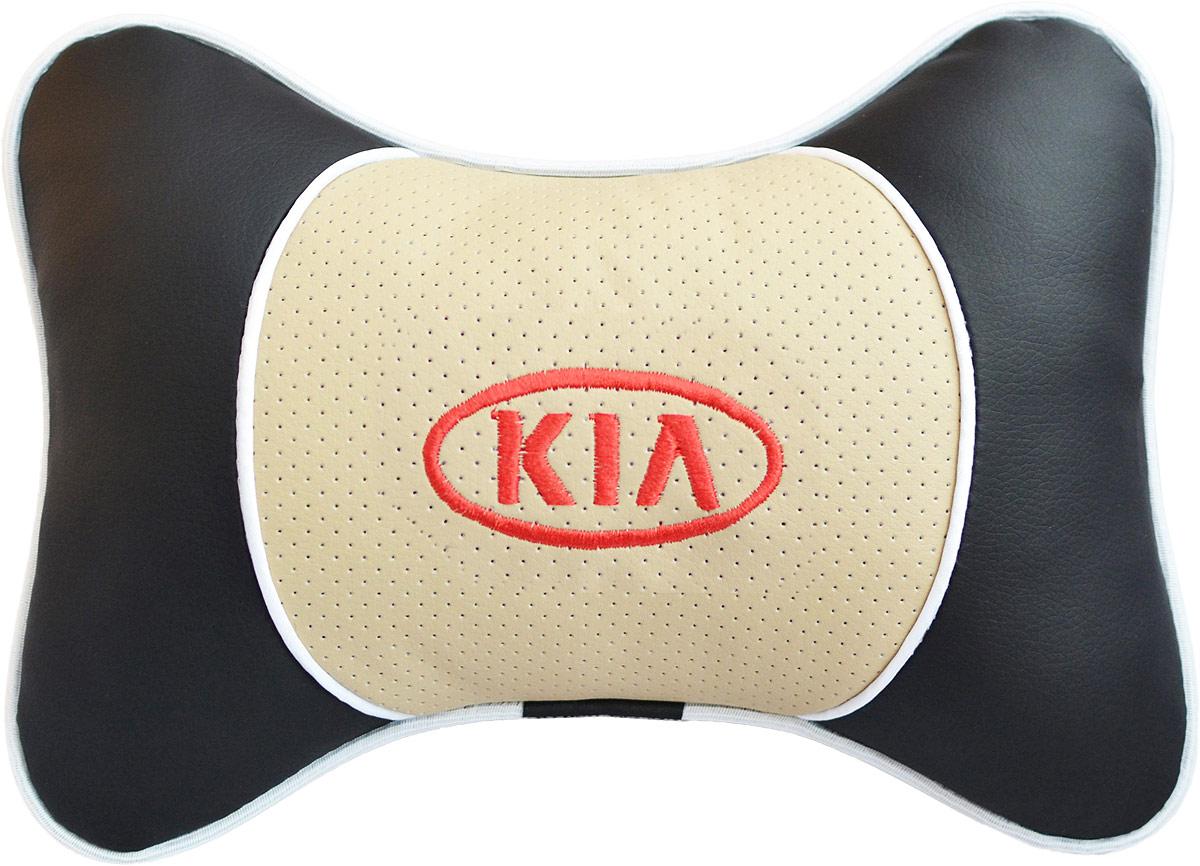 Подушка на подголовник Auto Premium Kia, цвет: бежевый. 3759137591Подушка на подголовник Люкс выполнена из черной гладкой экокожи, вставка из бежевой перфорированной экокожи имеет обрамление мягким кантом. Для нанесения вышивки используются высококачественные итальянские нитки. Подушка на подголовник - это прежде всего лучший способ создать комфорт для шеи и головы во время пребывания в автомобильном кресле. Такая подушка будет удобна как водителю, так и пассажиру. При производстве используются высококачественные, износостойкие материалы и гипоаллергенные наполнители.