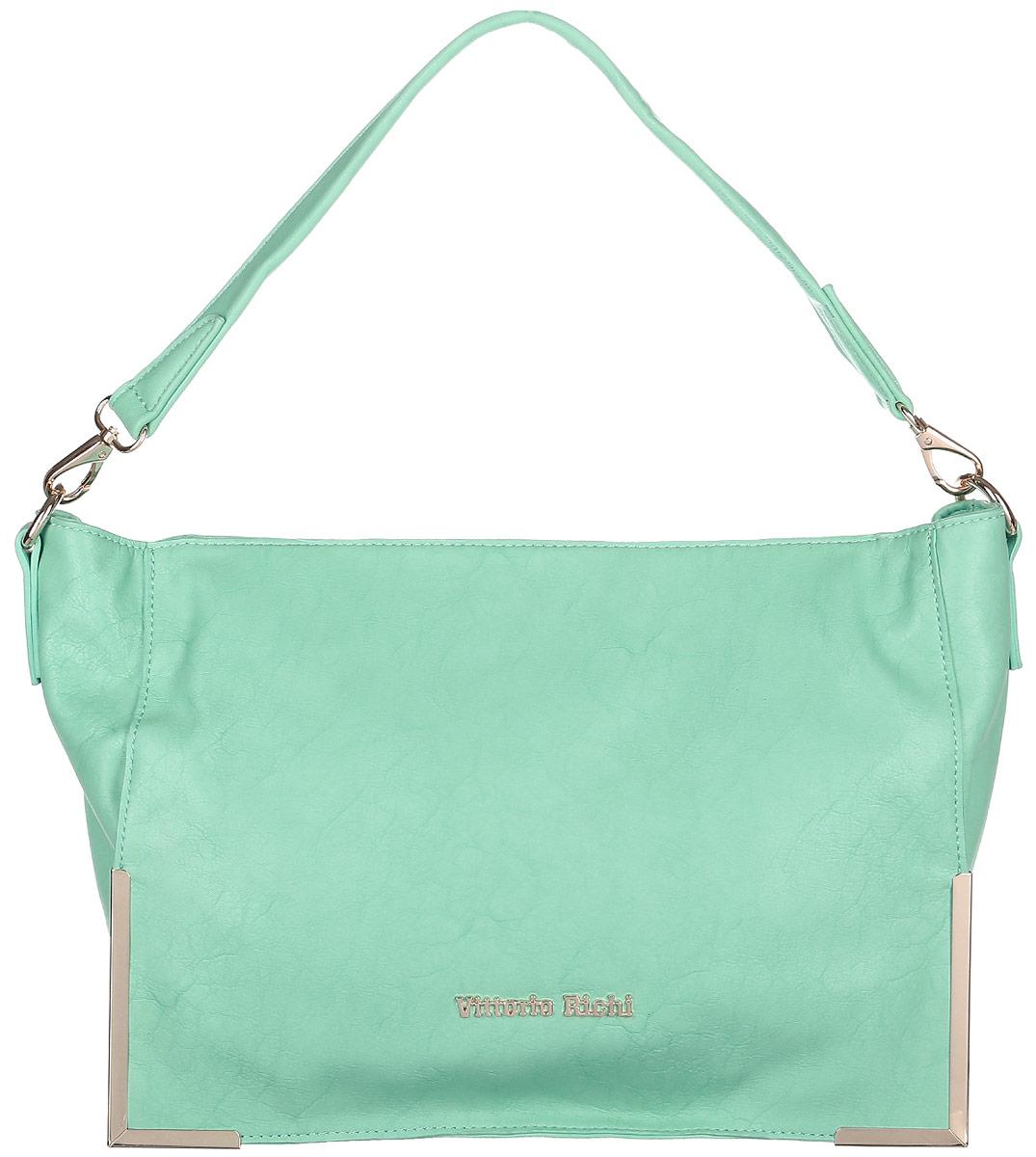 Сумка женская Vittorio Richi, цвет: зеленый. 1331613316 verdeСумка из экокожи на молнии. Внутри текстильная подкладка, один карман на молнии, два открытых отделения для мелочей. В комплекте наплечный ремень. Высота ручки 25см.