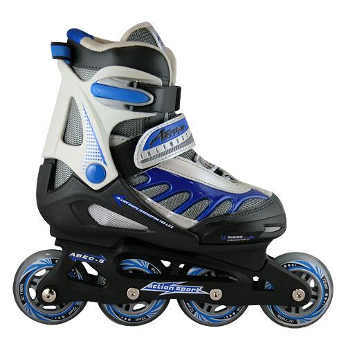 Коньки роликовые Action, раздвижные, цвет: черный, синий. PW-112J. Размер M (36/39)PW-112JРаздвижные роликовые коньки Action с мягким ботинком предназначены для активного отдыха. Коньки имеют высокоэластичные и износостойкие колеса из полиуретана жесткостью 82А. Мягкий комбинированный ботинок из кожзаменителя и воздухопроницаемого сетчатого материала, вставки из прочной металлической сетки в боковой и носочной частях, система быстрой шнуровки, уплотненный носок, система быстрой шнуровки, бакля (жесткое крепление) Auto Lock и пяточный ремень Velcro обеспечивают надежную фиксацию ноги во время катания. Кнопочная система регулировки размера Push&Spring. Рама изготовлена из композита, а колеса с подшипниками АВЕС 5 - из полиуретана. Роликовые коньки - это прекрасная возможность активного время провождения, отличный способ снять напряжение после трудового дня, пообщаться с друзьями, завести новые знакомства и повысить свою самооценку. При выборе роликовых коньков следует заботиться не о цвете, внешнем виде или фирме-производителе, а о том, чтобы вам и вашему...