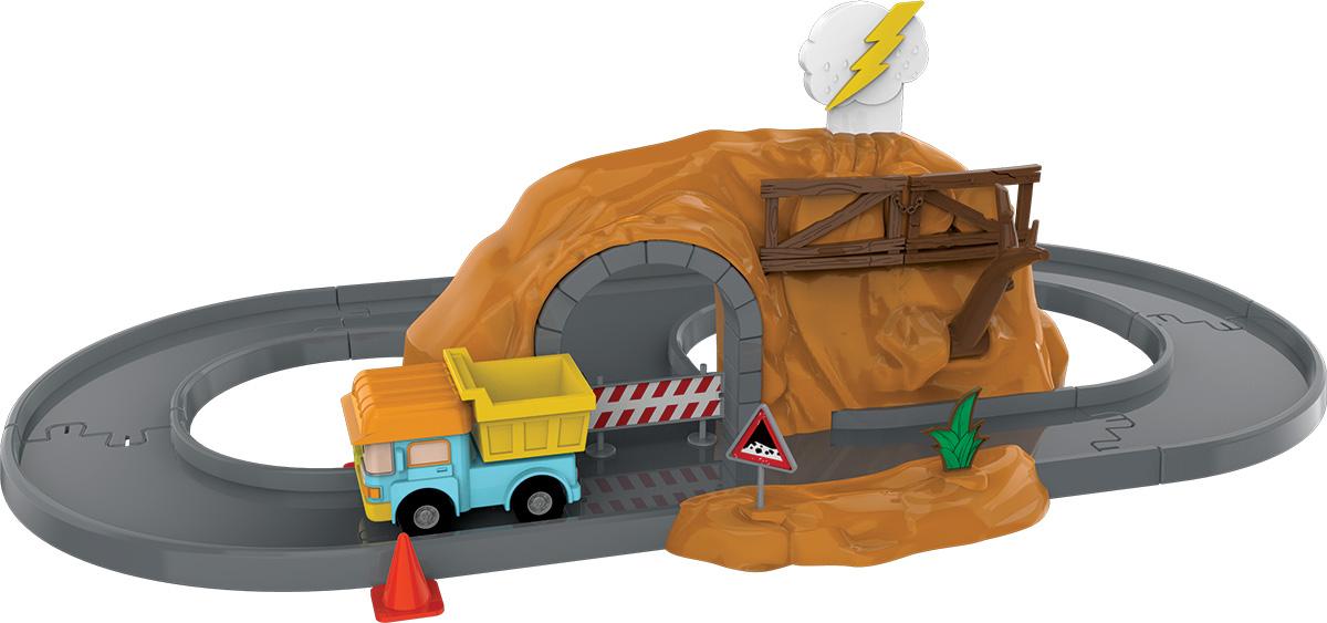 Robocar Poli Игрушечный трек Пещера с камнями с металлической машинкой Дампи