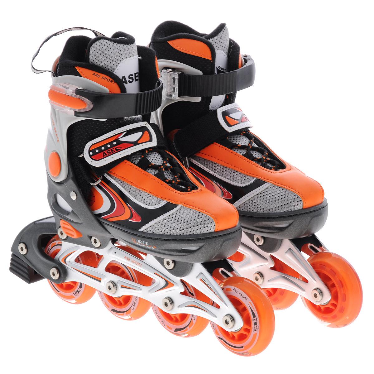 Коньки роликовые Ase-Sport, раздвижные, цвет: серый, оранжевый. ASE-626B. Размер S (33/36)ASE-626B-2Верх сапожка изготовлен из современного синтетического материала, стойкого к внешним воздействиям. Внутри сапожка отделка сделана из мягкого синтетического материала с мягкой подкладкой в боковых частях для более удобной и надежной фиксации ноги во время катания. Застежка типа AUTO LOCK удобно регулируется на нужный размер. Система изменения размера корпуса (кнопка) проста в использовании, позволяет быстро и комфортно подогнать сапожок под ногу. Корпус коньков изготовлен из прочного пластика, стойкого к механическим нагрузкам и внешним воздействиям окружающей среды. Ударопрочная пластиковая силовая манжета. Алюминиевая рама дает дополнительную прочность и скорость отталкивания во время катания. Стельки сделаны из специального вспененного материала, который удобно повторяет анатомическое строение стопы ноги и дополнительно поглощает вибрацию. Шнуровка коньков: матерчатые петли в сочетании с широким язычком, шнурки из полиэстера с синтетическими волокнами для более...
