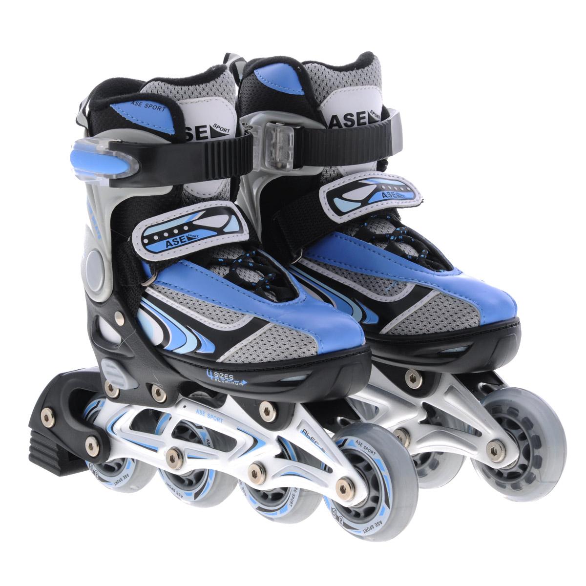 Коньки роликовые Ase-Sport, раздвижные, цвет: черный, синий. ASE-626В. Размер S (33/36)ASE-626B-1Верх сапожка изготовлен из современного синтетического материала, стойкого к внешним воздействиям. Внутри сапожка отделка сделана из мягкого синтетического материала с мягкой подкладкой в боковых частях для более удобной и надежной фиксации ноги во время катания. Застежка типа AUTO LOCK удобно регулируется на нужный размер. Система изменения размера корпуса (кнопка) проста в использовании, позволяет быстро и комфортно подогнать сапожок под ногу. Корпус коньков изготовлен из прочного пластика, стойкого к механическим нагрузкам и внешним воздействиям окружающей среды. Ударопрочная пластиковая силовая манжета. Алюминиевая рама дает дополнительную прочность и скорость отталкивания во время катания. Стельки сделаны из специального вспененного материала, который удобно повторяет анатомическое строение стопы ноги и дополнительно поглощает вибрацию. Шнуровка коньков: матерчатые петли в сочетании с широким язычком, шнурки из полиэстера с синтетическими волокнами для более...