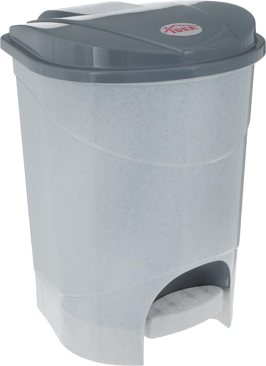 Контейнер для мусора Idea, с педалью, цвет: серый мрамор, 7 лМ 2890_серый мраморКонтейнер для мусора Idea изготовлен из прочного полипропилена. Контейнер оснащен педалью, с помощью которой можно открыть крышку. Закрывается крышка практически бесшумно. Плотно прилегающая крышка, предотвращая распространение запаха. Внутри пластиковая емкость для мусора, которую при необходимости можно достать из контейнера. Благодаря лаконичному дизайну такой контейнер идеально впишется в интерьер дома и офиса. Размер контейнера: 24 х 24 х 29 см.