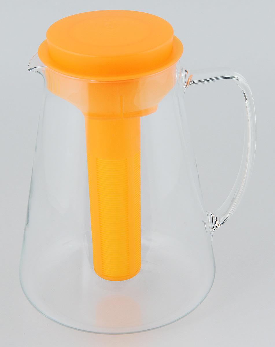 Кувшин Tescoma Teo, с крышкой, с ситечком, цвет: прозрачный, оранжевый, 2,5 л646628.17Кувшин Tescoma Teo, выполненный из высококачественного прочного стекла, элегантно украсит ваш стол. Кувшин оснащен удобной ручкой, пластиковой крышкой, ситечком для настаивания чая и трав, а также охлаждающей части. Он прост в использовании, достаточно наклонить его и налить ваш любимый напиток. Форма крышки обеспечивает наливание жидкости без расплескивания. Изделие прекрасно подойдет для холодильника и для подачи на стол воды, сока, компота и других напитков, как горячих, так и холодных. Кувшин Tescoma Teo дополнит интерьер вашей кухни и станет замечательным подарком к любому празднику. Можно мыть в посудомоечной машине и использовать на газовых, стеклокерамических и электрических плитах. Диаметр (по верхнему краю): 11 см. Диаметр (по нижнему краю): 16 см. Высота кувшина (с учетом крышки): 24 см. Высота ситечка: 19,5 см.