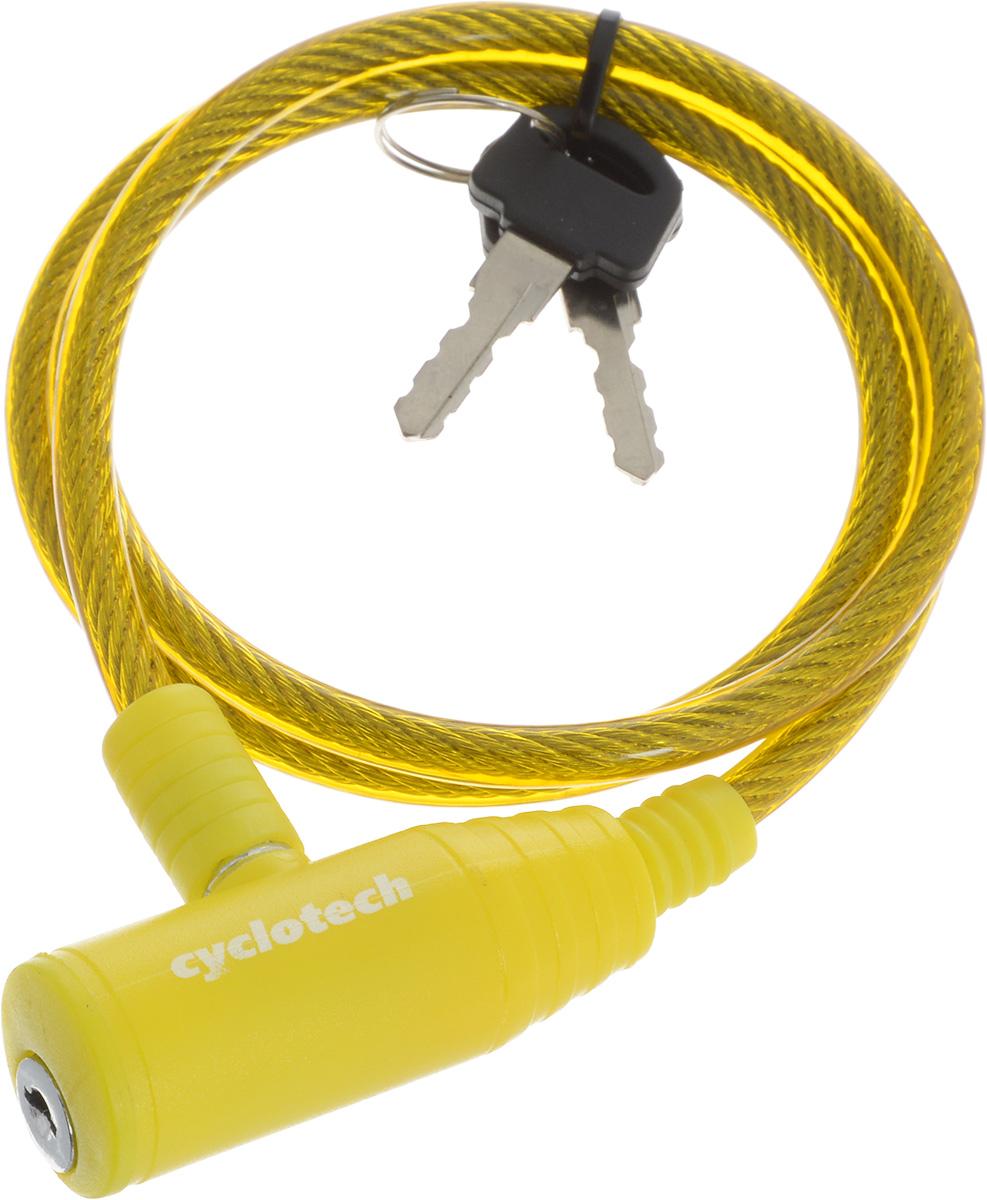 Велозамок Cyclotech, с ключем, цвет: желтый, диаметр 6 мм, длина 90 смCLK-2YNВелосипедный замок Cyclotech - это отличная вещь для сохранности вашего велосипеда. Замок, выполненный из прочного пластика, оснащен металлическим тросом обтянутым мягким ПВХ. Блокируется при помощи ключа. Количество ключей: 2 шт. Диаметр троса: 6 мм. Длина: 90 см.