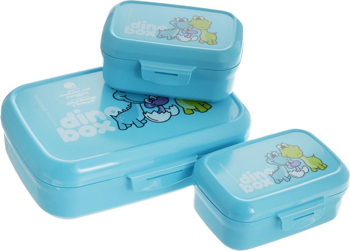 Набор контейнеров Tescoma Dino, цвет: голубой, 3 шт668330.30Набор Tescoma Dino состоит из трех контейнеров. Изделия выполнены из высококачественного пластика и оформлены изображением динозавров, которое обязательно оценят дети. Контейнеры предназначены для хранения и дальнейшей переноске закусок и легких обедов в школу, в поездку или на тренировку. Два небольших контейнера легко помещаются в самый большой, что экономит пространство при хранении на кухне. Можно мыть в посудомоечной машине. Размер большого контейнера: 20 х 13 х 6,5 см. Размер одного малого контейнера: 12 х 8,5 х 6 см.