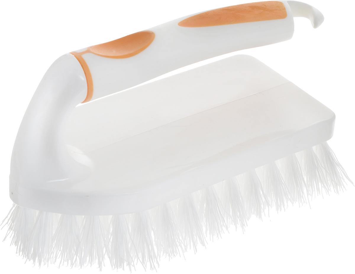 Щетка для одежды Svip Софтэль, цвет: белый, оранжевый, 14,5 х 6,5 х 8,5 смSV3080БЛРЖ-32РЩетка-утюжок Svip Софтэль изготовлена из высококачественного полипропилена и предназначена для удаления ворсинок, волос, пыли и шерсти животных с одежды. Щетка имеет удобную ручку с резиновой вставкой, предотвращающей выскальзывание из рук. На рукоятке расположен крючок для подвешивания. Щетина средней жесткости не повреждает поверхность. Длина щетины: 2,5 см, Размер щетки: 14,5 х 6,5 х 8,5 см.