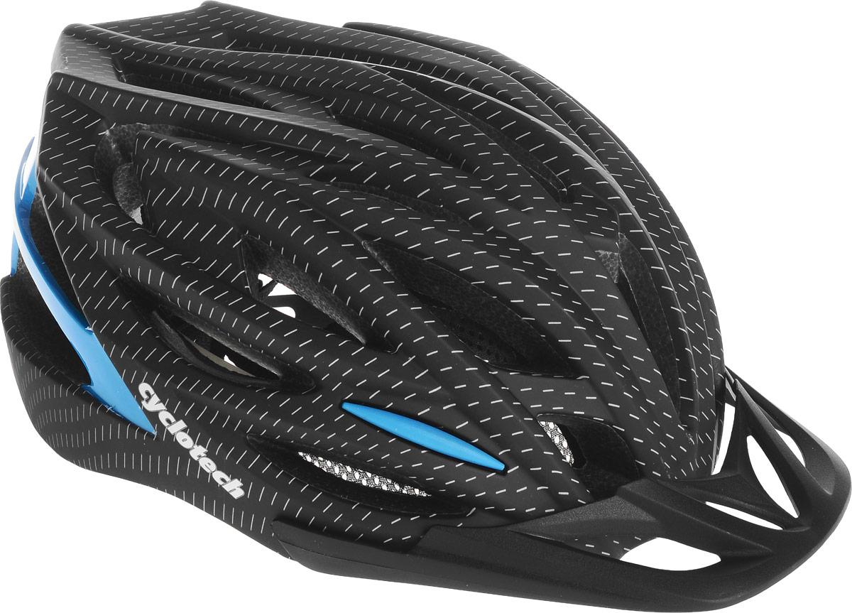 Шлем велосипедный Cyclotech, цвет: черный, синий. Размер LCHLI16MМужской велосипедный шлем продвинутого уровня Cyclotech изготовлен по современной технологии Inmold. За счет применения данной технологии шлем становится значительно более устойчивым к боковым и фронтальным ударам, как тупыми, так и острыми предметами (камни, скальные породы). Улучшенная система вентиляции. Шлем соответствует международным стандартам безопасности и надежности. Обхват головы: 58-62 см.