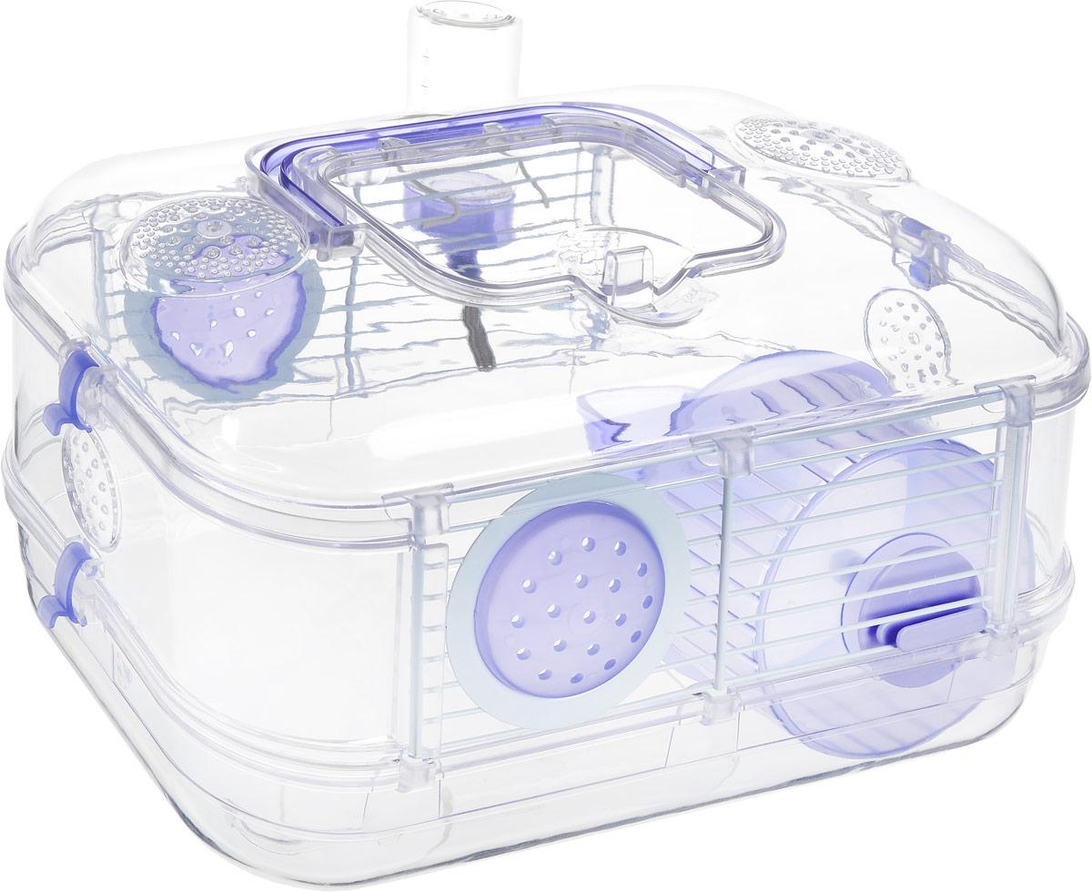 Клетка для грызунов Rody Mini, цвет: лиловый, прозрачный, 30 х 20 х 18 см205837Небольшая клетка Rody Mini, выполненная из пластика и металла, предназначена для мелких грызунов. Прозрачные стены и внутренние элементы клетки позволяют наблюдать за животными. Клетка легко собирается и разбирается. Изделие оснащено удобной ручкой для переноски. Сверху расположена крышка. Сверху и по бокам предусмотрены отверстия, обеспечивающие естественную вентиляцию. Отлично подходит для хомяков, мышей и песчанок. В комплект входит бутылочка-поильник 75 мл, 1 колесо, 1 кормушка, 2 плоских пробки.