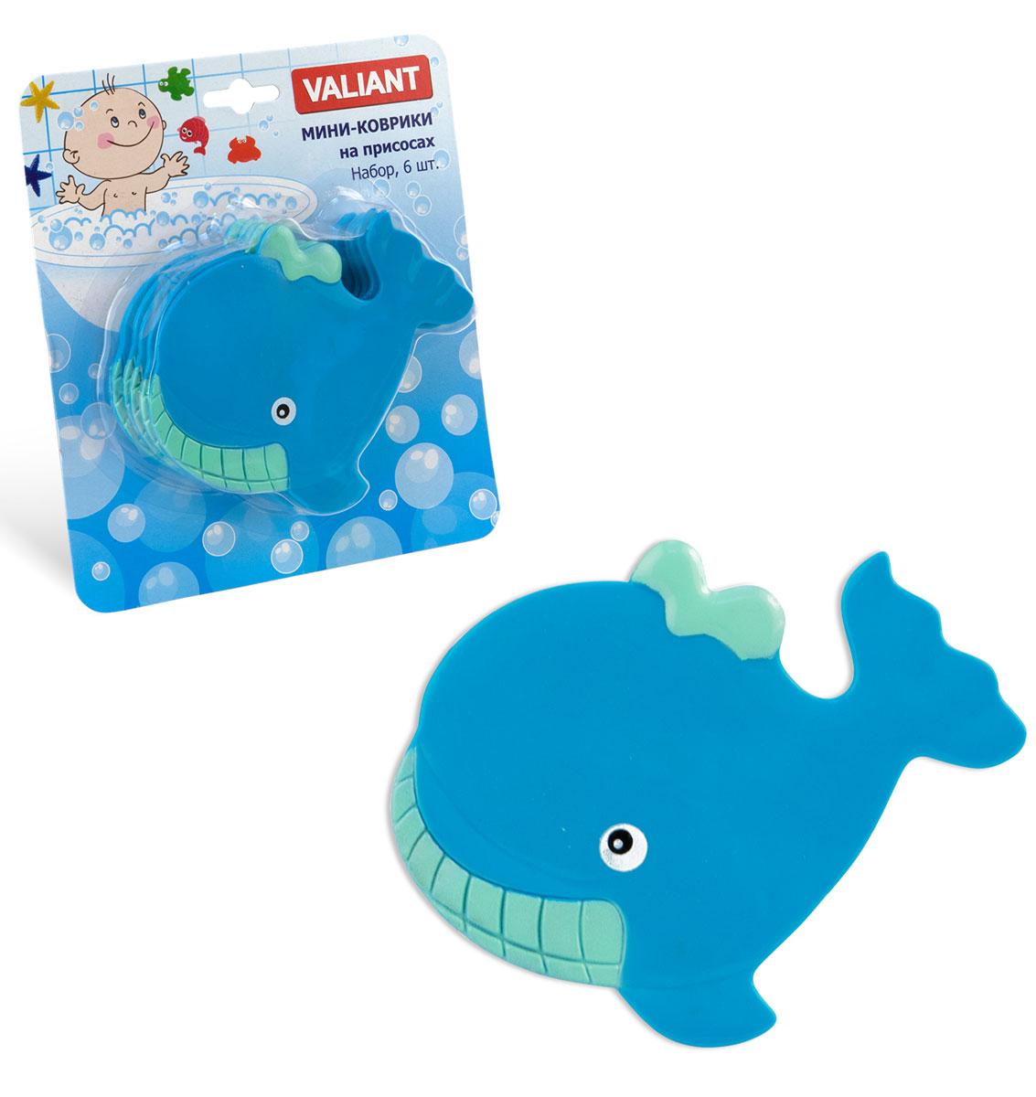 Valiant Мини-коврик для ванной комнаты Кит на присосках 6 шт
