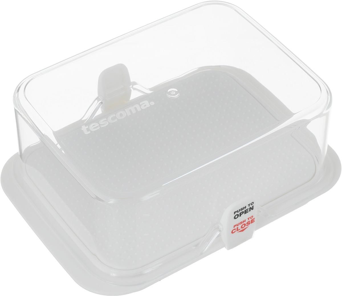 Kонтейнер для холодильника Tescoma Purity, 14 х 11 х 6,5. 891830891830Kонтейнер Tescoma Purity выполнен из высококачественного пищевого пластика, который используется в здравоохранении и фармацевтики. Изделие отлично подходит для гигиеничного хранения продуктов в холодильнике. Используемый материал не влияет на качество продуктов даже при длительном хранении. Данный контейнер можно использовать в качестве масленки. Рифленое дно не дает маслу скользить по дну. В комплекте имеются запасные замки-крылышки. Можно мыть в посудомоечной машине.