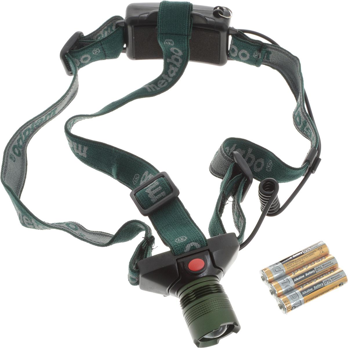 Фонарик Metabo налобный, светодиодный657003000Светодиодный фонарик Metabo - это удобный карманный фонарик, который можно брать с собой в дорогу или на отдых. Имеется ремешок, который позволяет носить фонарик на лбу. Работает от батареек типа ААА (входят в комплект), которые обеспечивают 300 минут непрерывной работы. Изделие светит при помощи сверхъяркого светодиода. Фонарик не займет много места, но всегда выручит вас даже в самой безвыходной ситуации, когда за окном уже темно. Максимальный световой поток: 160 люмен. Дальность освещения: 150 м. Длительность свечения (при работе от батареи типа ААА): 300 мин (5 часов). Размеры фонарика: 6 х 5 х 3,5 см.