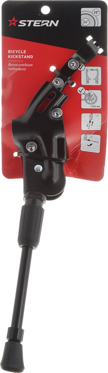 Подножка велосипедная Stern. CKS-1NCKS-1N.Велосипедная подножка Stern совместима практически со всеми горными велосипедами Stern с диаметром колес 24-28 дюймов. Изделие выполнено из прочного металла, на конце пластиковая насадка, не царапающая поверхность. Длина подножки: 33 см. Инструмент (гаечный ключ на 5 мм) в комплект не входит.
