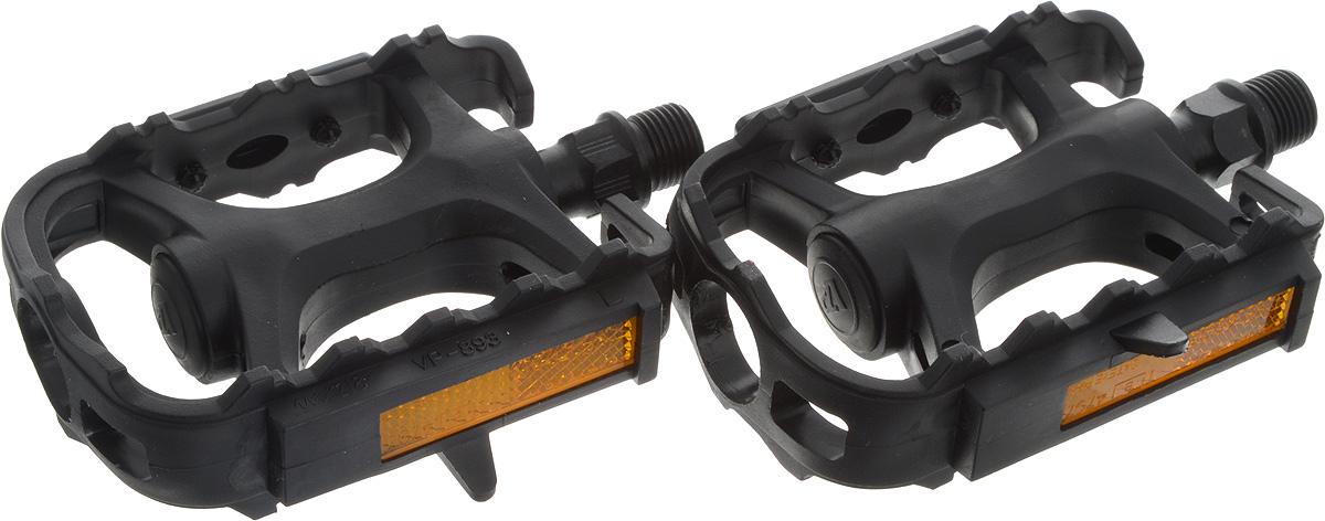 Педали Stern, цвет: черный. CPED-P1CPED-P1Высокопрочные цельные педали Stern выполнены из прочного пластика с надежной композитной рамкой, и оснащены встроенными светоотражателями для безопасности. Прочная ось выполнена из стали. Противоскользящее резиновое покрытие сверху и снизу обеспечивает удобство.