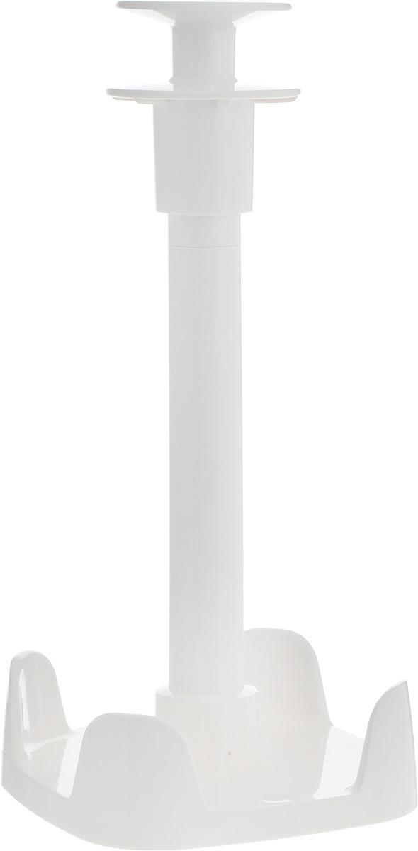 Держатель для бумажных полотенец Tescoma Clean Kit900704Отлично подходит для хранения и легкого использования бумажных полотенец в рулонах. Отмотайте необходимое количество полотенца нажмите сверху на ручку стенда и удерживайте ее оторвите необходимое количество. Держатель является универсальным, подходит для стандартных и высоких рулонных полотенец. Изготовлен из прочного пластика, оснащен нескользящей поверхностью. Можно мыть в посудомоечной машине.