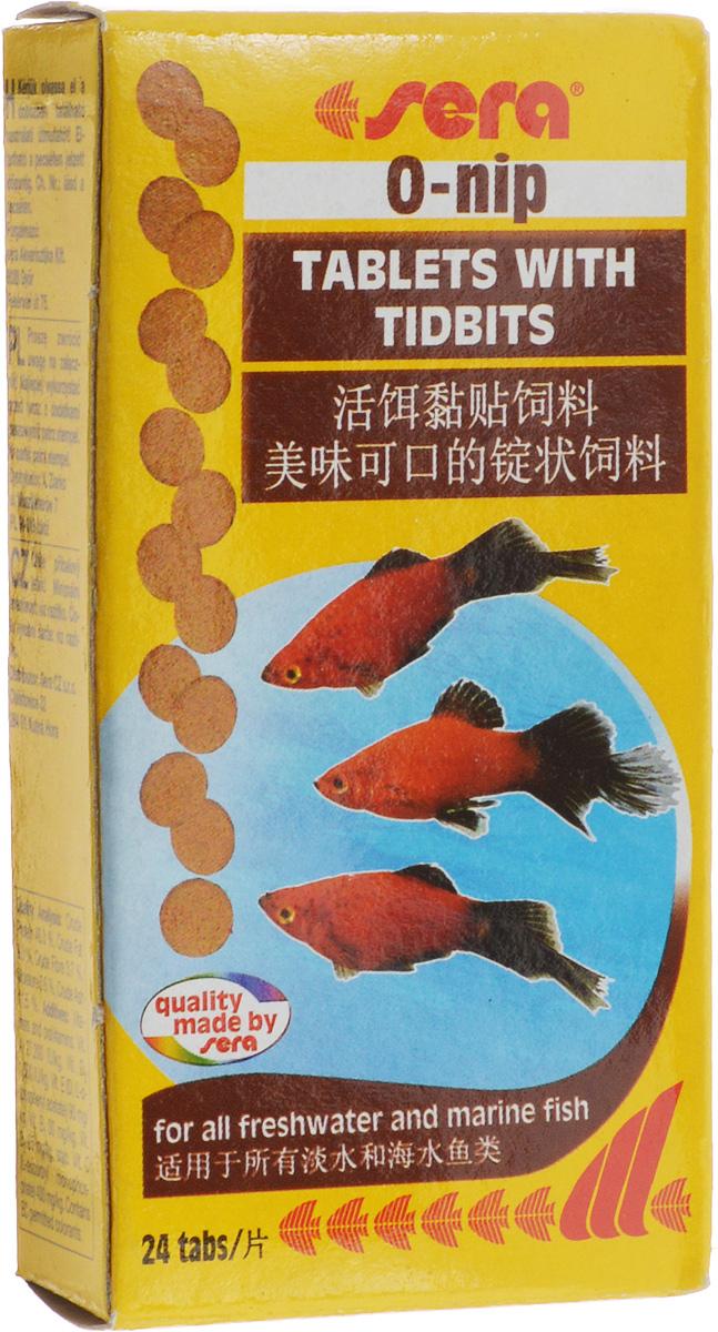 Корм для рыб Sera O-Nip, таблетированный, 24 таблетки0420Таблетированный корм для рыб Sera O-Nip произведен путем бережной обработки сырья. Таблетка прикрепляется к стеклянной стенке аквариума легким прижатием пальца. Это позволяет наблюдать за процессом кормления рыб. Высокое содержание кормовых организмов делает таблетки особенно вкусными и полезными для оптимального питания рыб. Ингредиенты: рыбная мука, пшеничная мука, пивные дрожжи, казеинат кальция, сухое молоко, криль (4,9%), красный мотыль (4,2%), гаммарус (2,6%), трубочник (2,1%), сахар, цельный яичный порошок, спирулина, морские водоросли, маннанолигосахариды (0,4%), жир из печени рыбы (в т.ч. 34% Омега жирных кислот), растительное сырье, люцерна, крапива, петрушка, зеленые мидии, паприка, водоросль гематококкус, шпинат, морковь, чеснок. Содержит пищевые красители допустимые в ЕС. Товар сертифицирован.