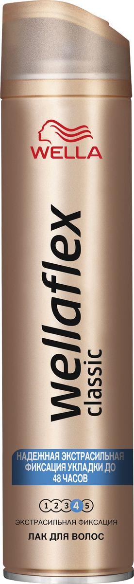 Wellaflex Лак для волос Classic экстрасильной фиксации 250 млWF-81540311Лак Экстрасильная Фиксация Wellaflex с технологией Гибкой Фиксации ТМ обеспечивает идеальную естественную укладку с улучшенной фиксацией, которая держится до 24 часов. Лак для волос Wellaflex экстрасильной фиксации быстро высыхает, не пересушивая волосы, легко удаляется при расчесывании и защищает волосы от воздействия солнечных лучей.