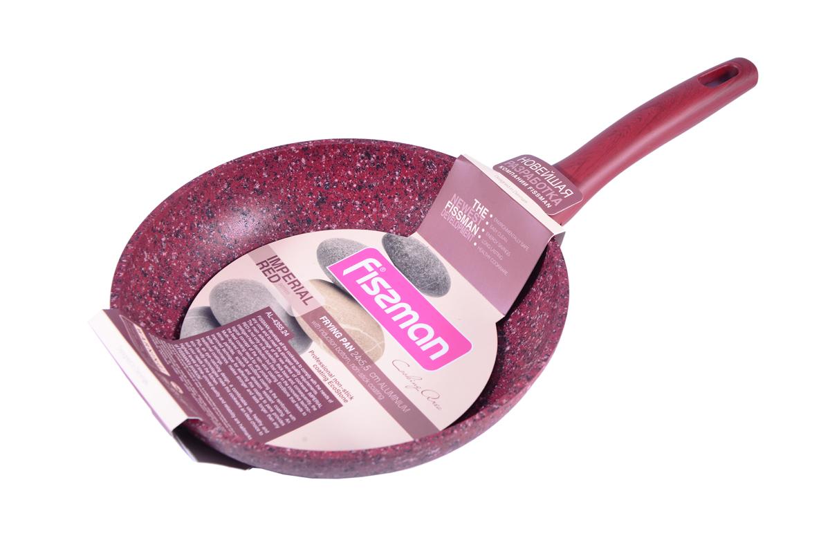 Сковорода Fissman Imperial Red, с антипригарным покрытием. Диаметр 26 смAL-4356.26Сковорода Fissman Imperial Red изготовлена из литого алюминия с многослойным антипригарным покрытием EcoStone, которое усилено вкраплением каменных частиц. Первый слой улучшает сцепление покрытия с металлом, второй слой - грунтовый, третий слой - более прочное покрытие на основе минеральных компонентов, четвертый слой - высокопрочное антипригарное покрытие, усиленное вкраплением каменных частиц, пятый дополнительный антипригарный слой с керамическими частицами. Главное преимущество покрытия - это устойчивость к царапинам и износу. Также покрытие безопасно для здоровья человека и окружающей среды. Утолщенное дно сковороды рационально распределяет тепло, что позволяет продуктам готовиться быстро и равномерно. Приятная на ощупь ручка из бакелита не нагревается и не скользит в руках. Посуда серии Imperial Red - это уникальный модный дизайн и непревзойденное качество. Подходит для газовых, электрических, стеклокерамических, индукционных плит. Можно мыть в...