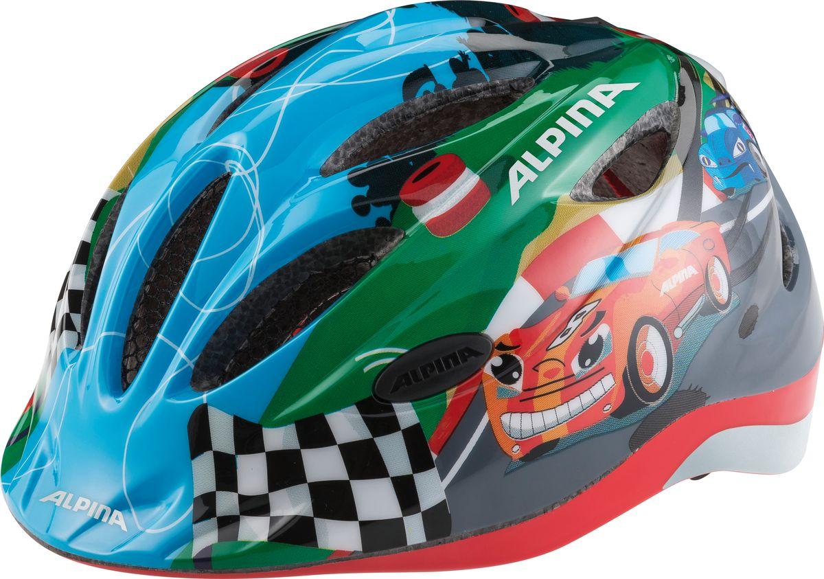 Шлем летний Alpina Gamma 2.0 Flash racing, цвет: голубой. A9660012. Размер 51/56A9660012Наилучшая защита для маленьких велосипедистов. Размер:46-51, 51-56 см.