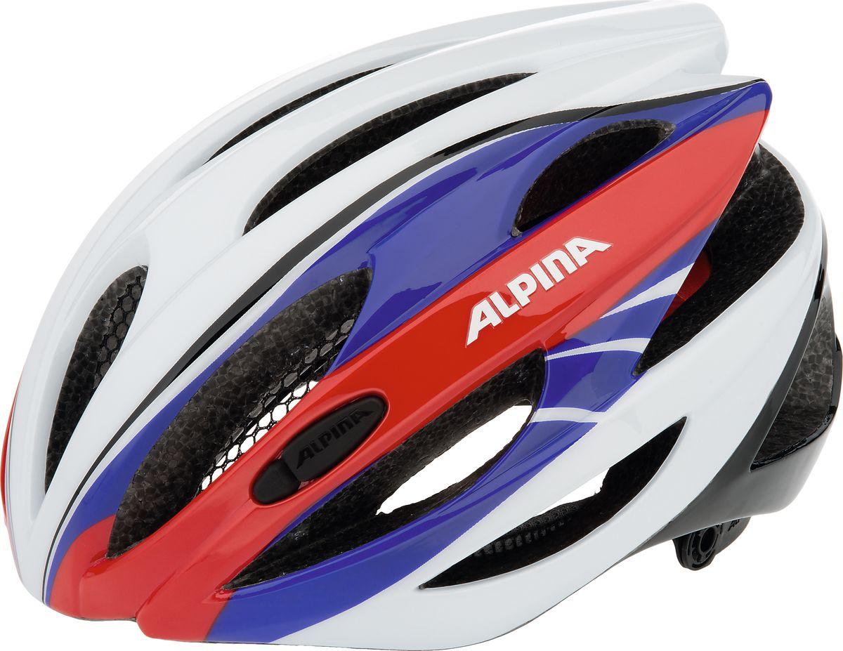 Шлем летний Alpina Cybric, цвет: красный, синий, белый. A9664117. Размер 53/57A9664117Правильный комфортный шлем для вело туризма. Удобная мягкая регулировка размера.