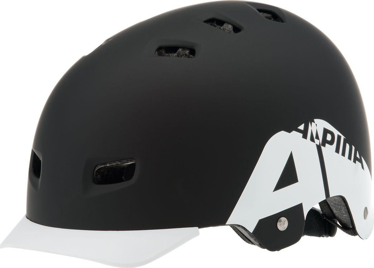 Шлем летний Alpina Alpina Park, цвет: белый, черный. A9679131. Размер 54/59A9679131Отличный шлем для паркового катания. Жесткая пластиковая скорлупа устойчива к многократным ударам, свежая графика и съемный козырек. Технологии: Сeramic shell, Run System Classic